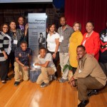 Lacks family with Henrietta Lacks Display