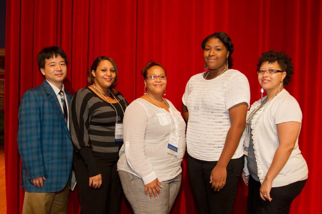 Scholarship committee members (Daniel Teraguchi, Erika Johnson, Courtnee Lacks, Victoria Baptiste) with winner Damisha Hazleton