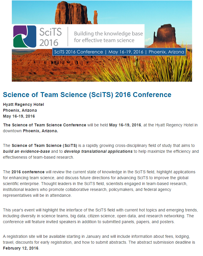 SciTS 2016 Conference