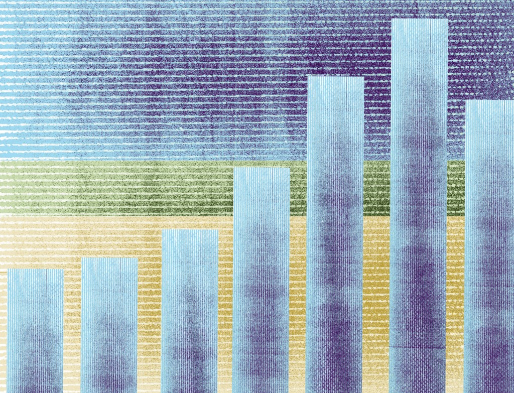 Pastel bar chart against layered blue, green, and yellow background