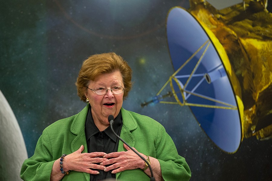 Barbara Mikulski speaks at the Johns Hopkins Applied Physics Laboratory after the New Horizons Pluto flyby in July 2015. IMAGE CREDIT: NASA